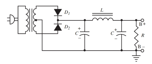 Complete power supply circuit with the load resistor.