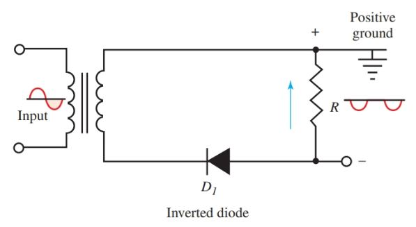 An inverted diode produces a negative voltage