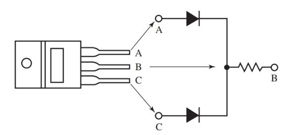 Dual diodes with a center tap.