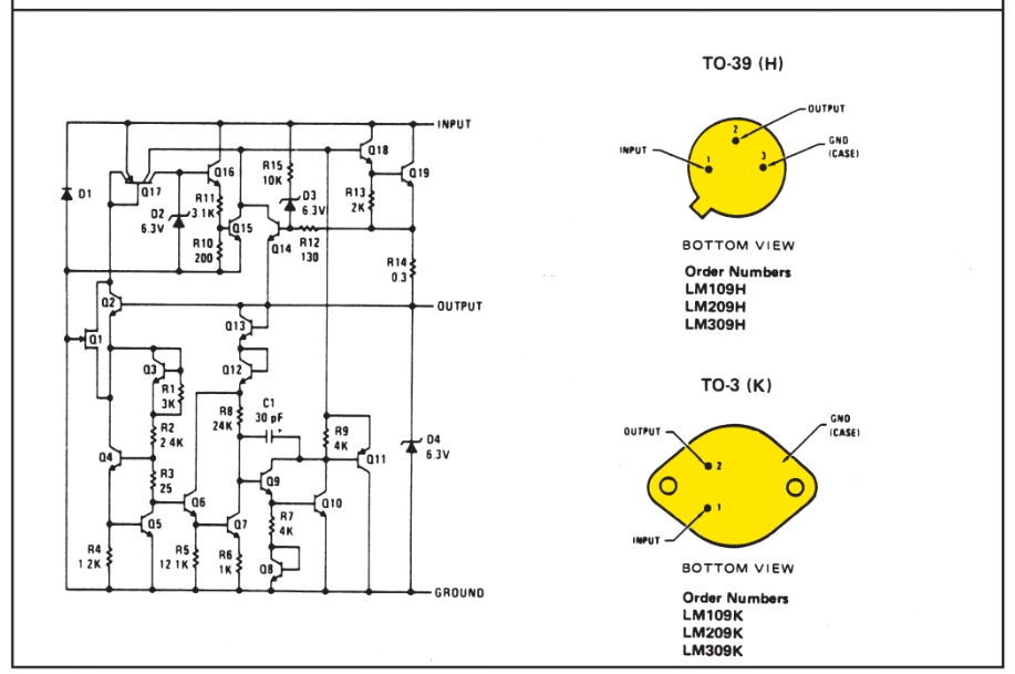Schematic and connection diagrams for voltage regulators. b