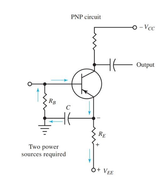 Schematic of circuit for emitter biasing of npn transistor amplifier