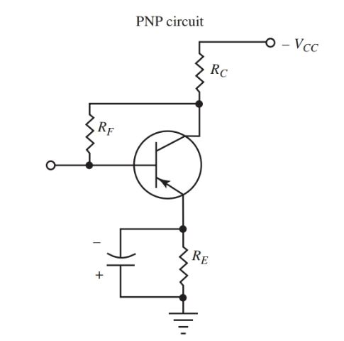 Schematic of the self-bias circuit for npn transistor amplifier
