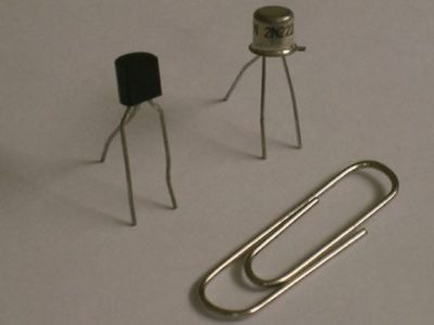 Indication of the size of a typical transistor.