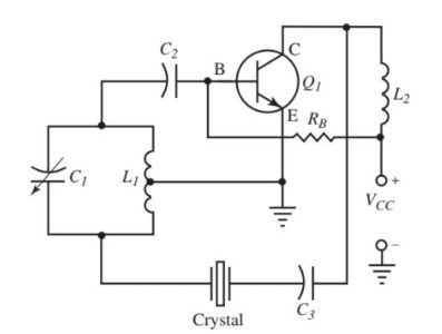 A crystal controlled Hartley oscillator circuit.