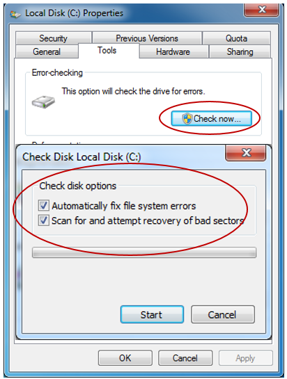 how to run Check Disk