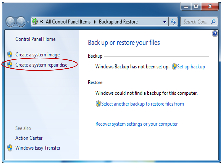 where to create a system repair disc
