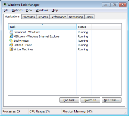 Application Tab of the Task Manager