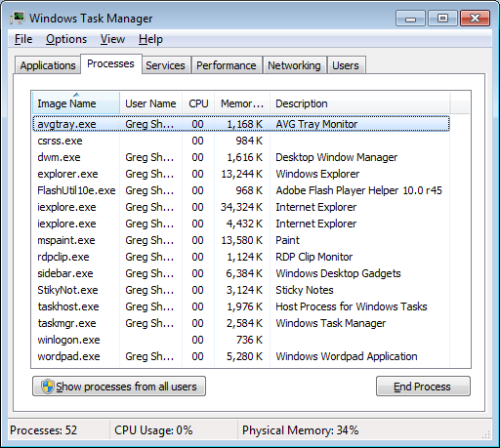 Processes Tab of the Task Manager