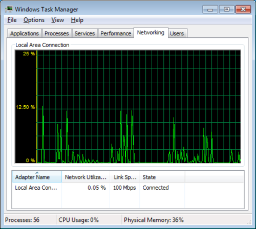 Networking Tab in Task Manager