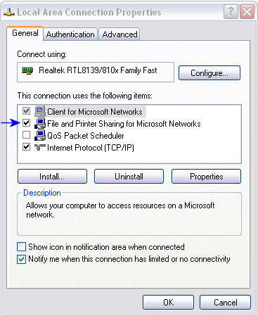 how to enable File and Printer Sharing
