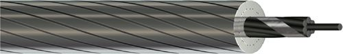 Aluminum conductor with a composite core.