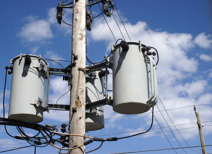 Three single-phase transformers wired as a three-phase transformer bank