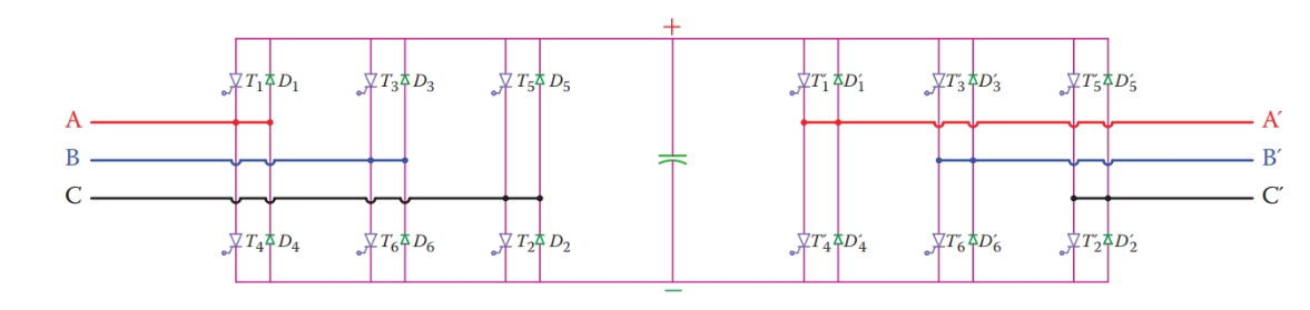 Schematic of a bi-directional back-to-back converter.