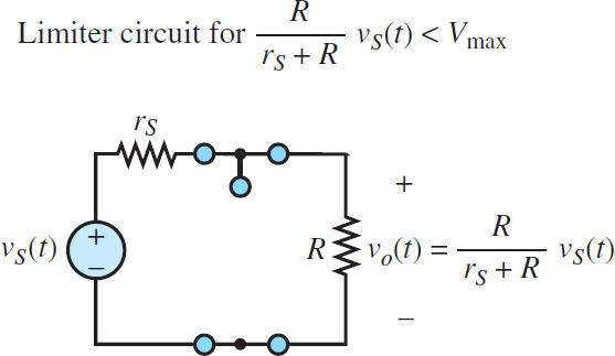 Equivalent circuit for the one-sided limiter (diode off)