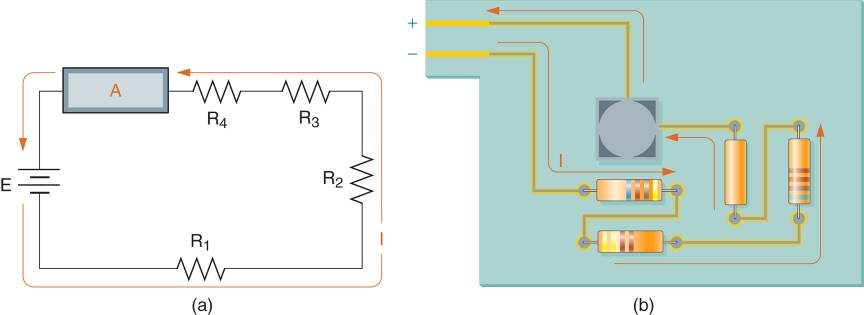 (a) Example series circuit schematic and construction. (b) Parallel Circuit