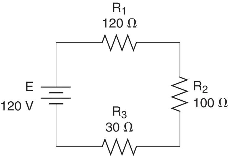 Current through a series circuit Example