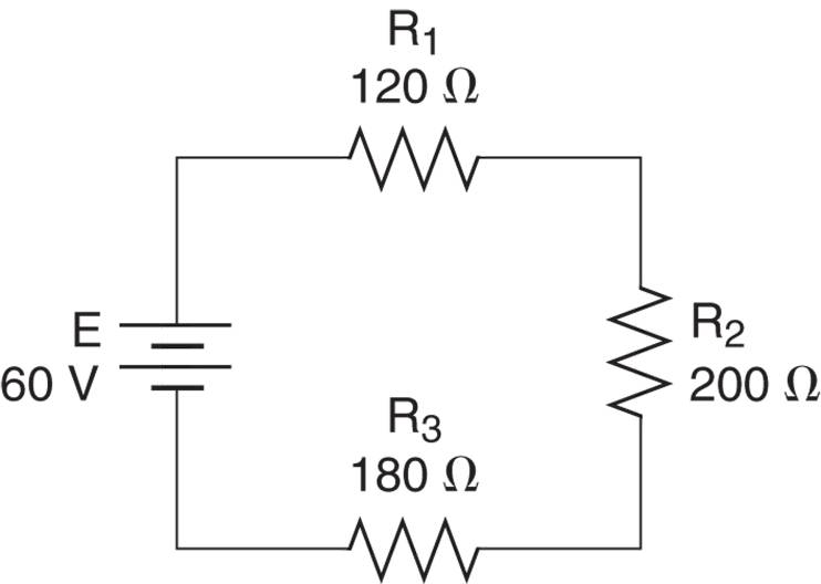 current, voltage, and power in series circuit example