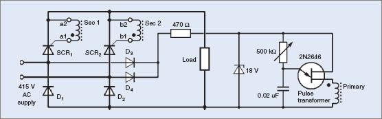 Single-phase half-controlled bridge rectifier with modified trigger circuit