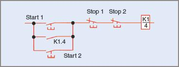 Two start and stop control positions in a circuit