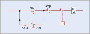 Jogging push-button switch in a control circuit
