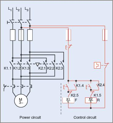 Schematic circuit diagram of a reversing contactor