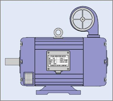 A three-phase electric motor with fan-forced cooling