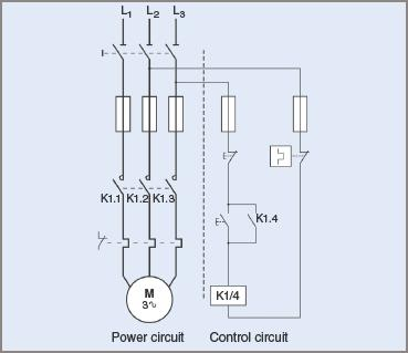 Contactor circuit Diagram for DOL starting