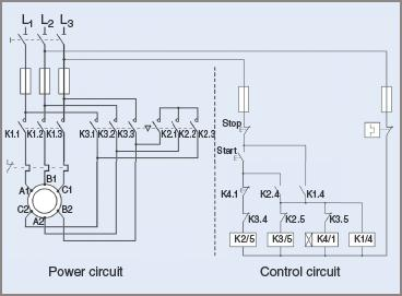 Contactor circuit Diagram for star–delta starting