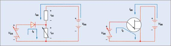 UJT emitter current configuration circuit diagram