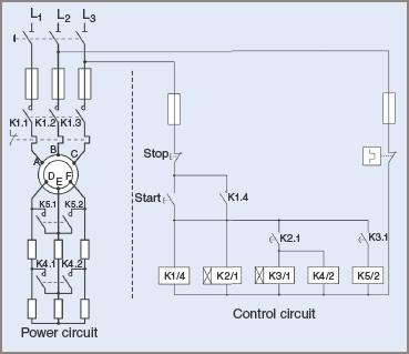 Contactor circuit Diagram for secondary resistor starting