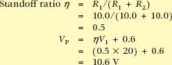 put standoff ratio and peak voltage calculation formula